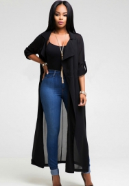 Black Long Sleeve Adjustable Waist Overlong Chiffon Open Stitch Outwear
