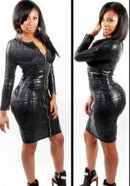 Leather Long Sleeve Front Zipper Sexy Women's Bodycon Bandage Dress