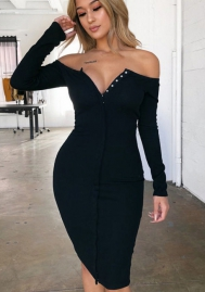 Women Fashion Off Shoulder Front Button Long Sleeve Midi Dress