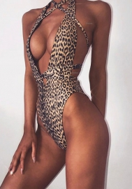 Women Fashion Leopard Print Bandage One Piece Swimwear