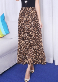 Womens Leopard Print Long Skirts Drawstring High Waisted Bohemian Maxi Skirt