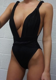 Womens Halter Criss Cross Front High Waist Cut Out One Piece Swimsuit