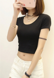 Women Fashion Classic Solid Color Short Sleeve Crop Tops