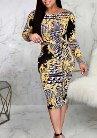 Women Fashion Print Long Sleeve Midi Dress with Waist Tie