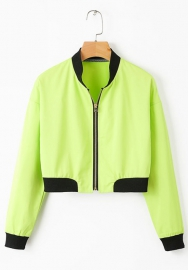 Women Fashion Green Front Zipper Jacket