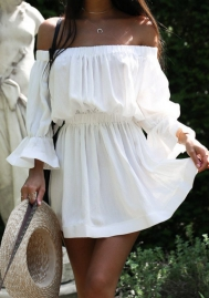 Women's Off Shoulder Layered Flare Sleeve Solid Chiffon A-Line Dress