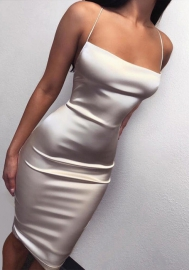 Women Fashion Halter Silk Backless Mini Dress
