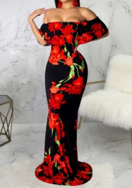 Women Sexy Off Shoulder Floral Maxi Dress