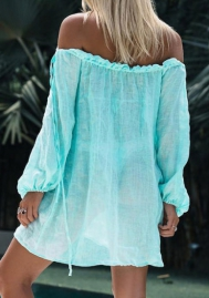 Women Fashion Off Shoulder Solid Color Loose Cover Ups