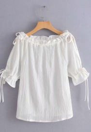 Women Fashion Off Shoulder Ruffle Sleeve Tie Tops