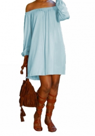 Women Fashion Soild Color Off Shoulder Mini  Summer Dress