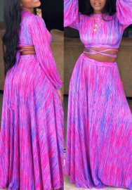 Women Fashion Chiffon Colorful Bandage Crop Tops and Maxi Skirt 2 Piece Suit