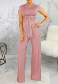 Women Fashion Solid Color Bandage Crop Tops And Long Pants 2 Piece Suit