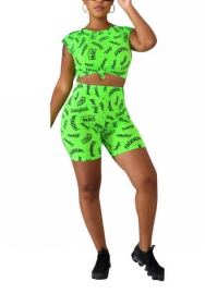 Women Fashion Print Letter Crop Tops and Short Pants 2 Piece Suit