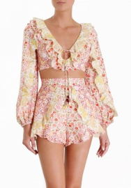 Women Floral Ruffle Crop Tops And Ruffle Side Short Pants 2 Piece Suit