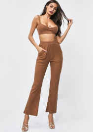 Women's 2 Piece Outfits Tank Crop Top Skinny Long Pants Sets Tracksuits