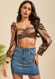 Women Sexy Silk Front Button Flare Sleeve Bra Tops