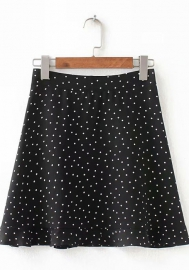 Women Fashion Print Dot Classic Skirts