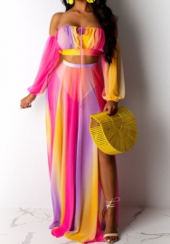 Women Fashion Chiffon Multi-Colorful Tube Long Sleeve Crop Tops And Maxi Skirt 2 Piece Suit