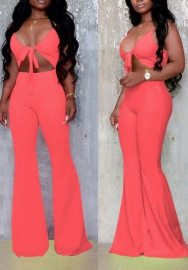Women Sexy Front Bow Cut Out Strap Jumpsuit