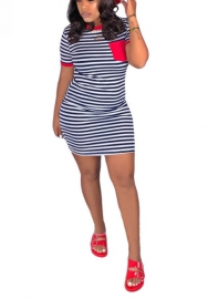 Women Fashion Round Neck Striped Short Sleeve Mini Dress