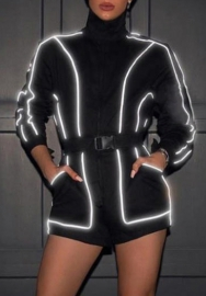 Women Fashion Reflective Light Long Sleeve Romper with Waist Tie
