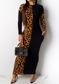 Women Fashion Long Sleeve Leopard Print Black Contrast Color Maxi Dress