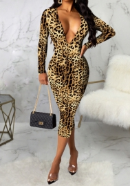 Women Fashion Print Leopard Deep V Neck Long Sleeve Midi Dress