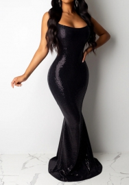 Women Sexy Sequins Strap Slim Bodycon Maxi Dress