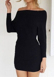 Women Fashion Solid Color Off Shoulder Long Sleeve Mini Dress