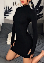 Women Fashion Solid Color High Neck Long Sleeve Bodycon Mini Dress