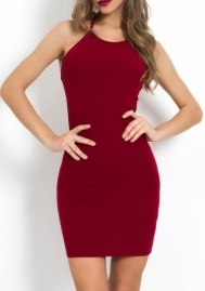 Women Fashion Solid Color Halter Backless Mini Dress