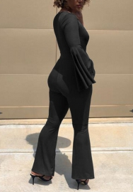 Women Fashion Solid Color Deep V Neck Flare Long SLeeve Jumpsuit