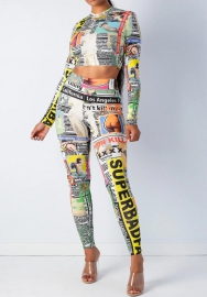 Women Fashion Print Newspaper Long Sleeve Crop Tops and Long Pants 2Piece Suit