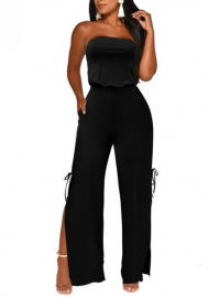 Women Fashion Solid Color Tueb Bottom Bow Tie Double Side Jumpsuit