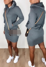 Women Fashion Solid Color Cotton Hoodie Classic Mini Dress
