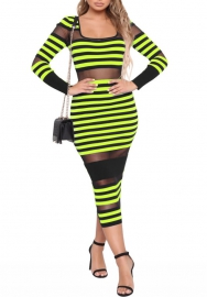 Women Fashion Mesh Cut Out Striped Round Neck Long Sleeve Maxi Dress