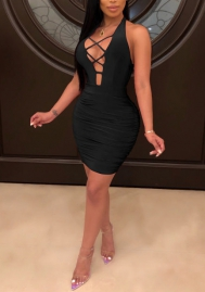 Women Sexy Halter Lace Up Club Dress Mini Dress