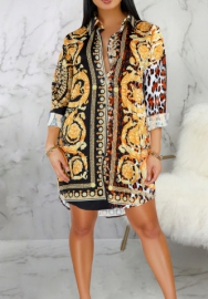 Women Fashion Print 3D-Digital Front Button Long Sleeve Shirt Mini Dress