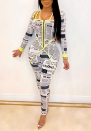 Women Fashion Print Newspaper Striped Long Sleeve Bodycon Jumpsuit
