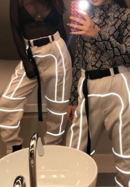 Women Fashion Hip Hop Styles Reflective Striped Loose Long Pants with Waist Tie