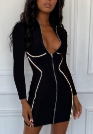Women Fashion Striped Front Long Zipper Long Sleeve Bodycon Mini Dress