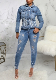 Women Fashion Bottom Pearl Front Button Jeans Jacket