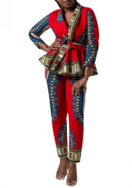 Women Fashion Africa Styles Long Sleeve Tops and Long Pants 2 Piece Suit