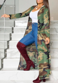 Women Fashion Camouflage Opent Long Coat