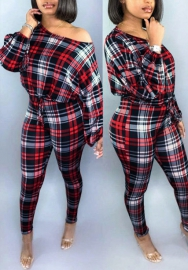 Women Fashion Plaid Long Sleeve Loose Tops and Long Pants Tracksuit Suit