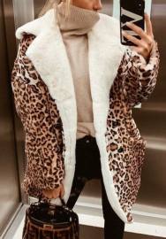 Women Fashion Leopard Fur Long Coats