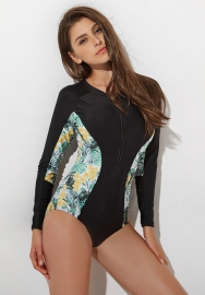 Women Fashion Print Surfing Wetsuit Sun-proof Swimwear