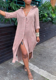 Women Fashion Pink Front Button Loose Shirt Dress