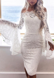 Women Fashion Lace Flare Long Sleeve Mini Dress